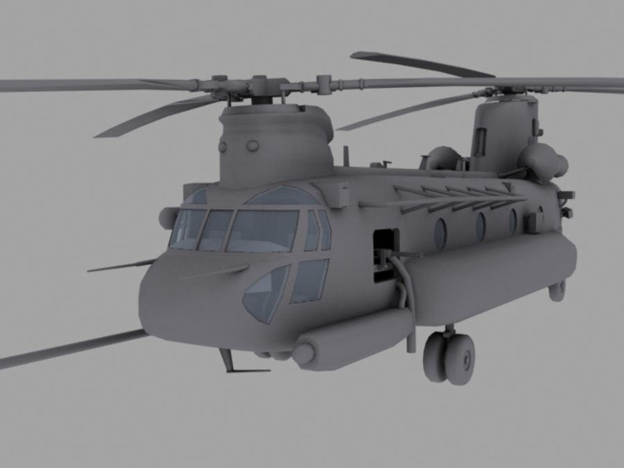 CH-47E SOA US Special Forces transport helicopter game model royalty-free 3d model - Preview no. 2