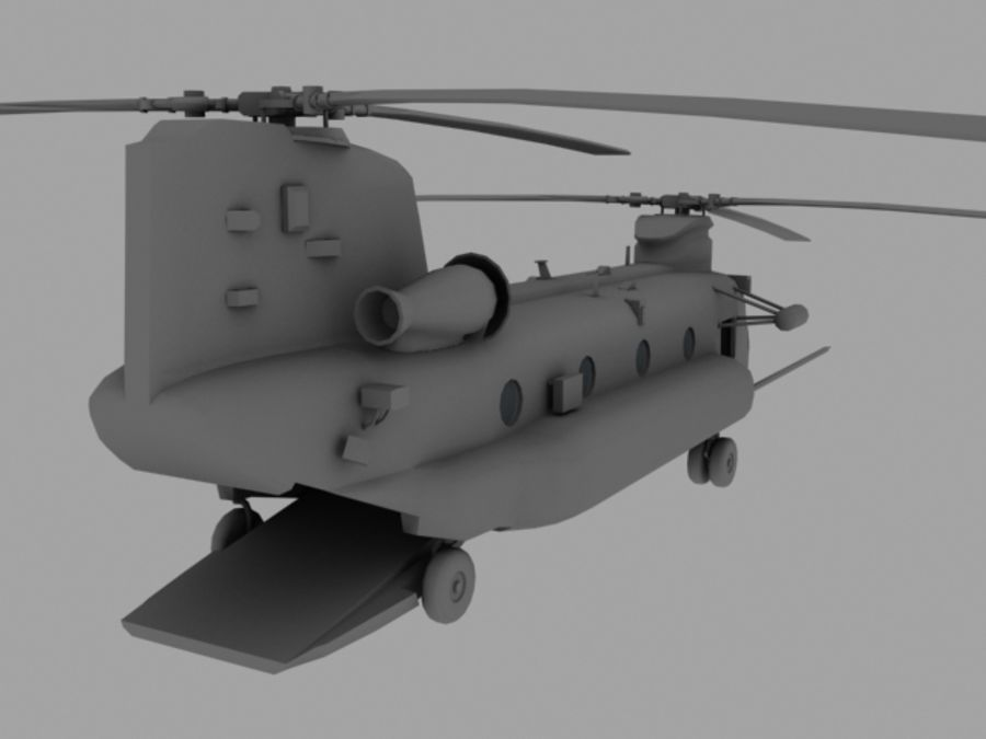 CH-47E SOA US Special Forces transport helicopter game model royalty-free 3d model - Preview no. 4