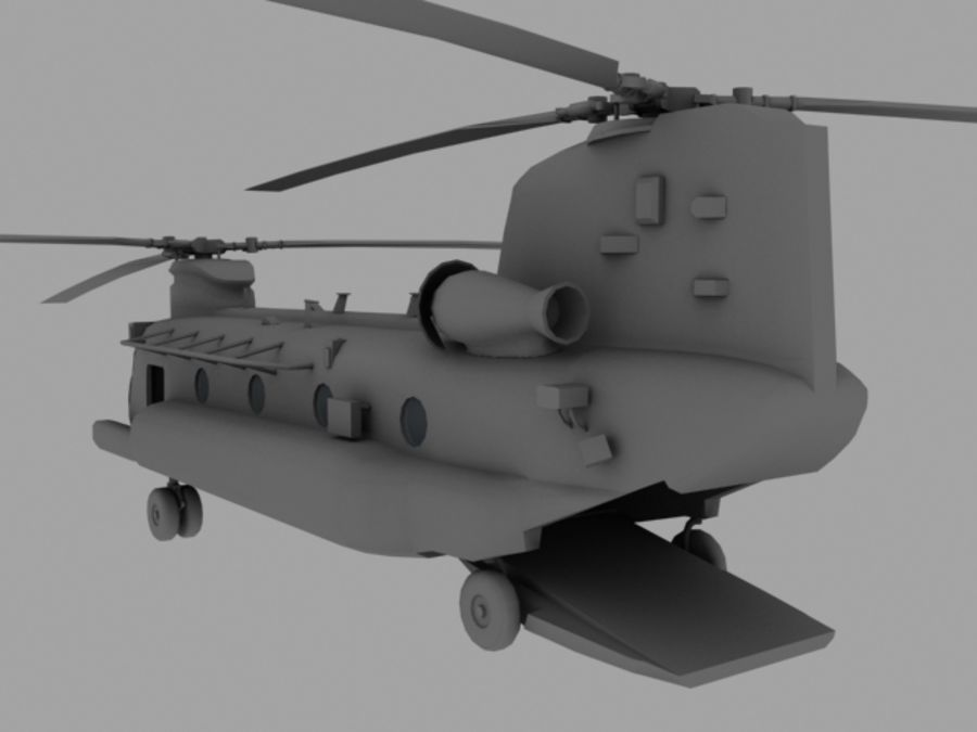 CH-47E SOA US Special Forces transport helicopter game model royalty-free 3d model - Preview no. 3