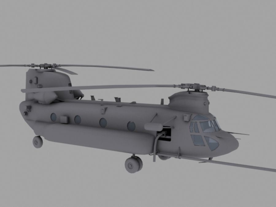 CH-47E SOA US Special Forces transport helicopter game model royalty-free 3d model - Preview no. 7