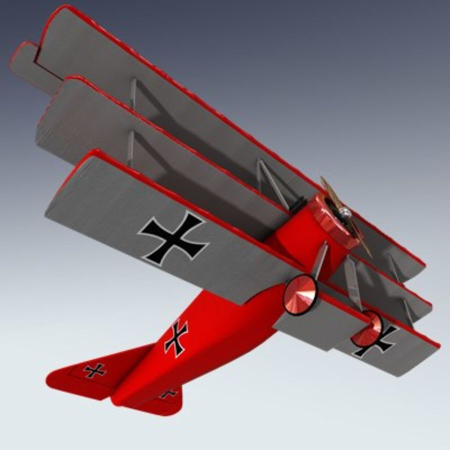 Fokker Triplane royalty-free 3d model - Preview no. 3