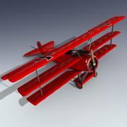 福克三翼飞机 3d model