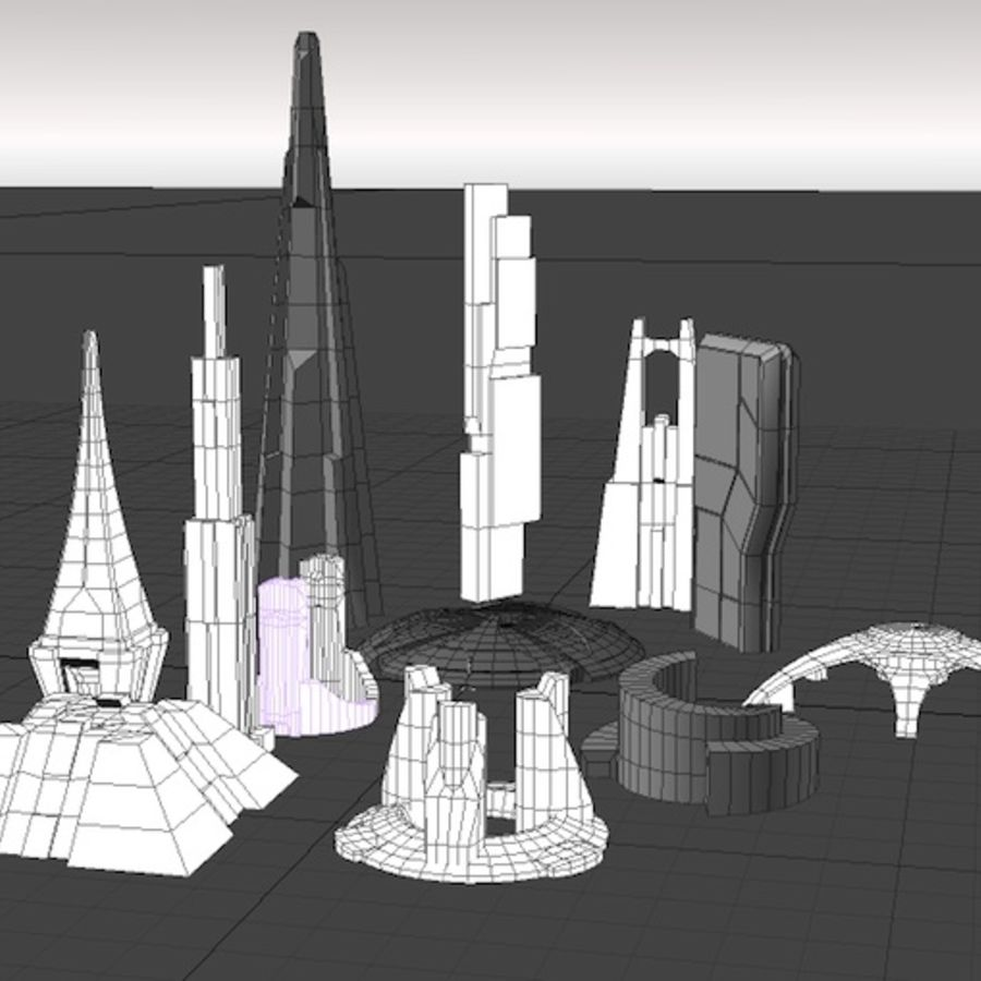 Futuristische architectuur 2 royalty-free 3d model - Preview no. 2