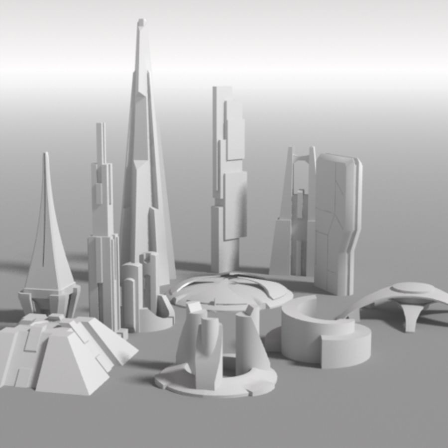 Futuristische architectuur 2 royalty-free 3d model - Preview no. 1
