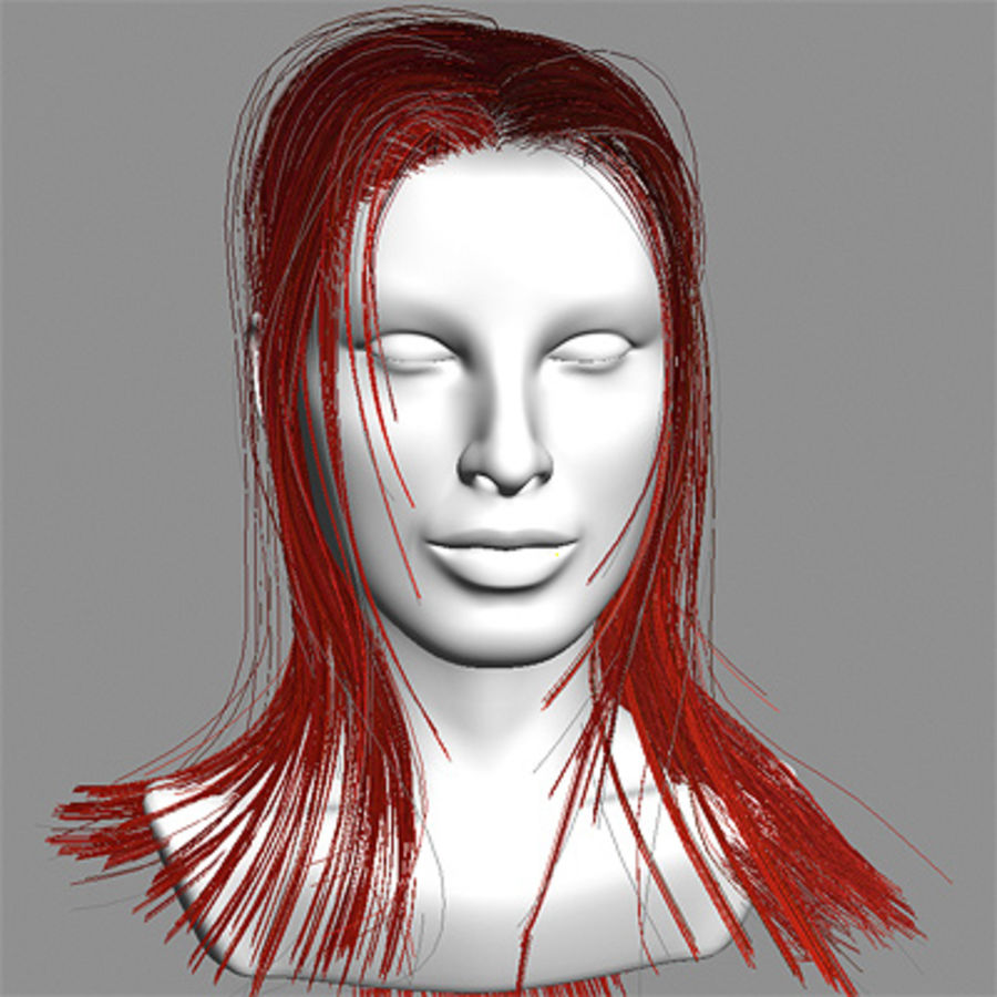 Hair Red royalty-free 3d model - Preview no. 7