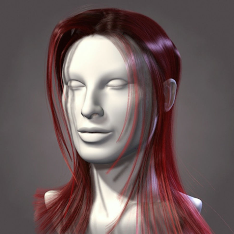 Hair Red royalty-free 3d model - Preview no. 3