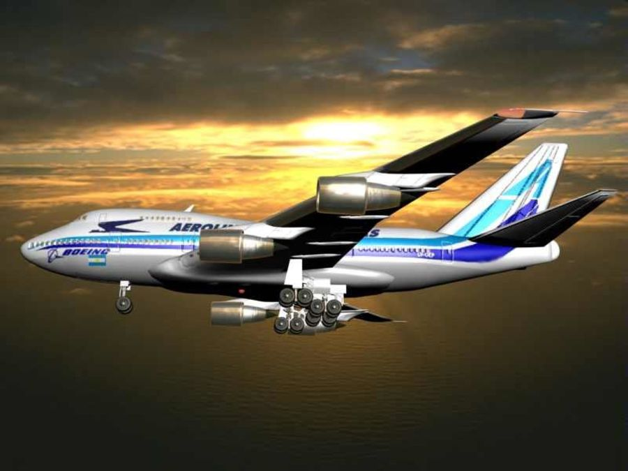 Aircraft Boeing 747 SP Jumbo Jet royalty-free 3d model - Preview no. 7