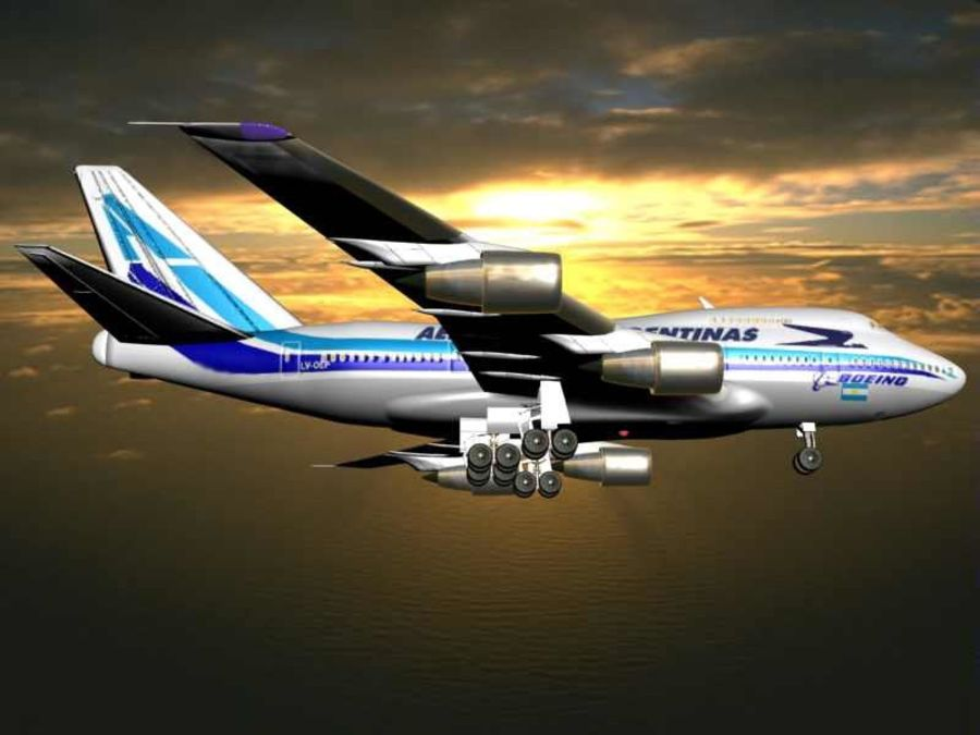Aircraft Boeing 747 SP Jumbo Jet royalty-free 3d model - Preview no. 13