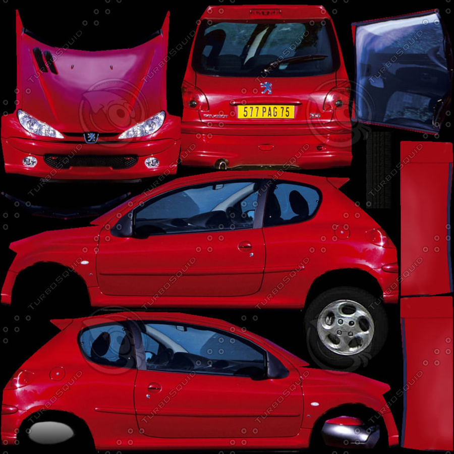 2003 Peugeot 206 royalty-free 3d model - Preview no. 10