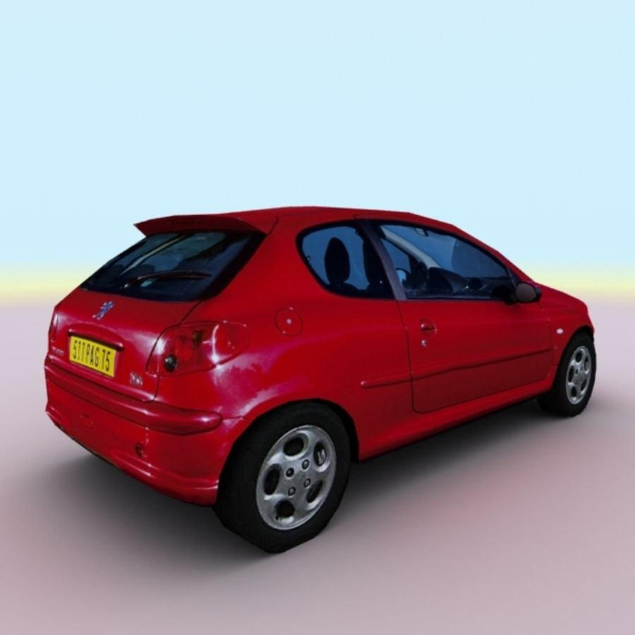 2003 Peugeot 206 royalty-free 3d model - Preview no. 7