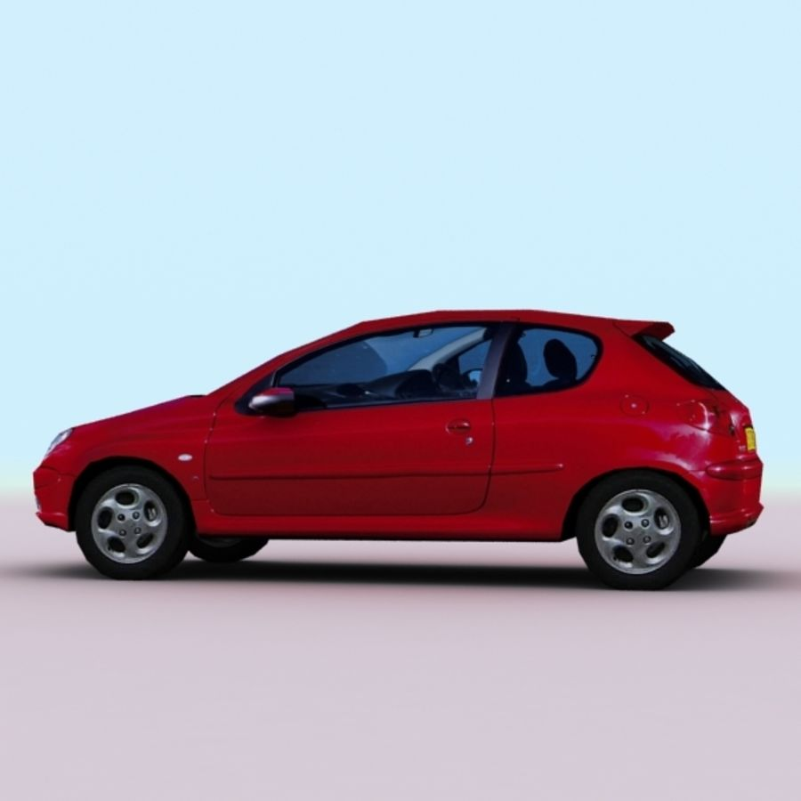 2003 Peugeot 206 royalty-free 3d model - Preview no. 3