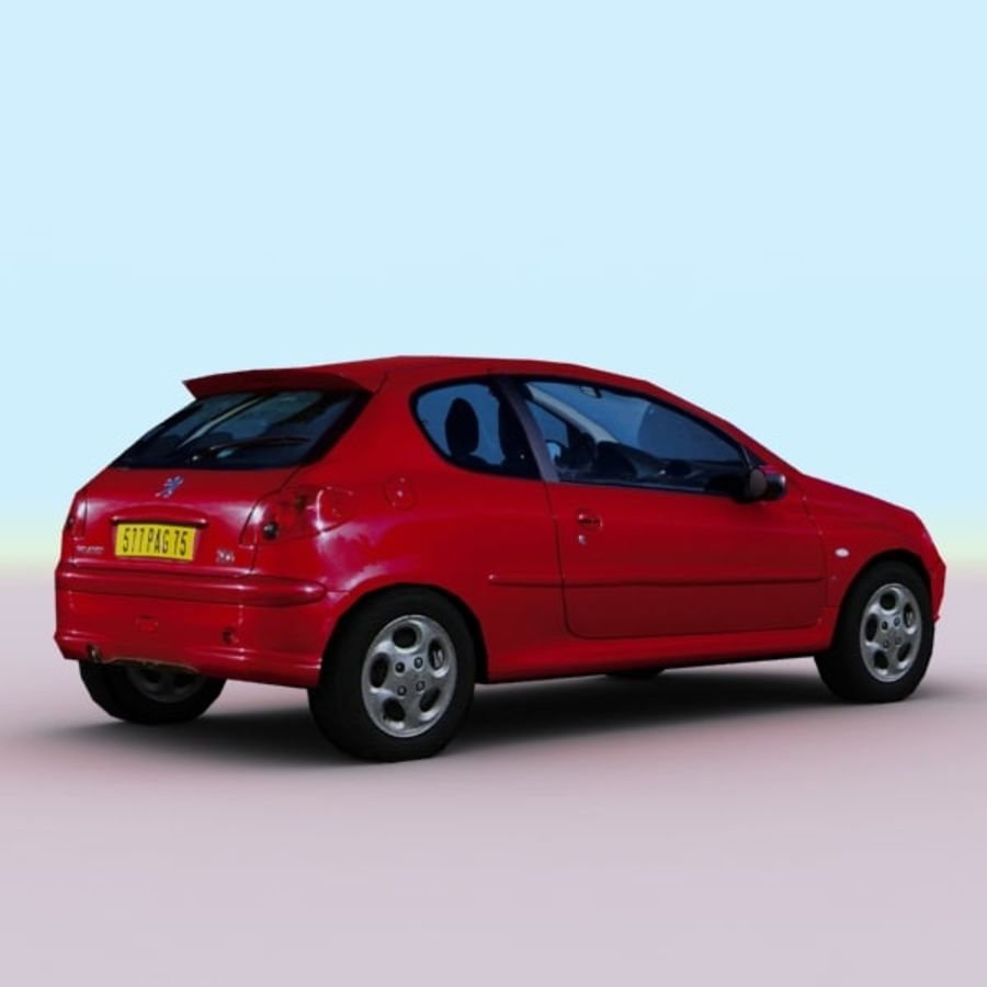 2003 Peugeot 206 royalty-free 3d model - Preview no. 9