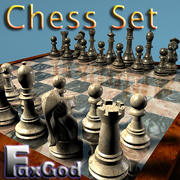 체스 판 및 보너스 체스 테이블 소품으로 조각 3d model