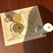 brújula vintage, vela y mapa modelo 3d