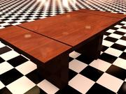 Table 1 - Table with 1 metal and 2 wood materials 3d model
