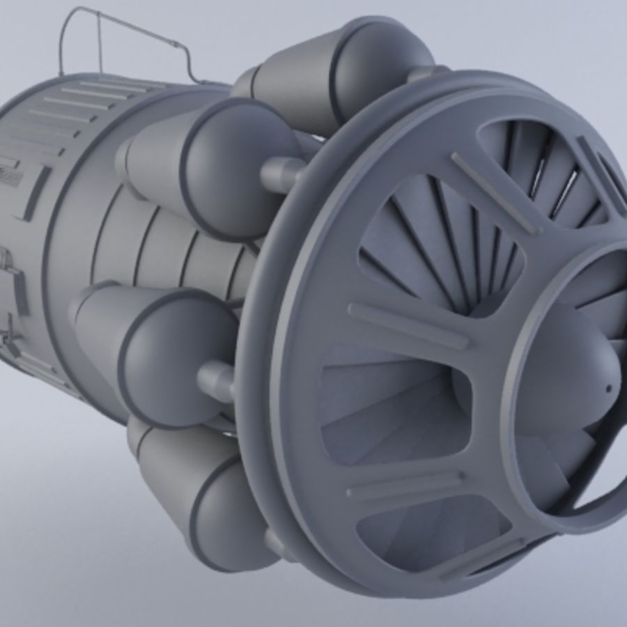 Jet Engine Turbine MK2 royalty-free 3d model - Preview no. 8