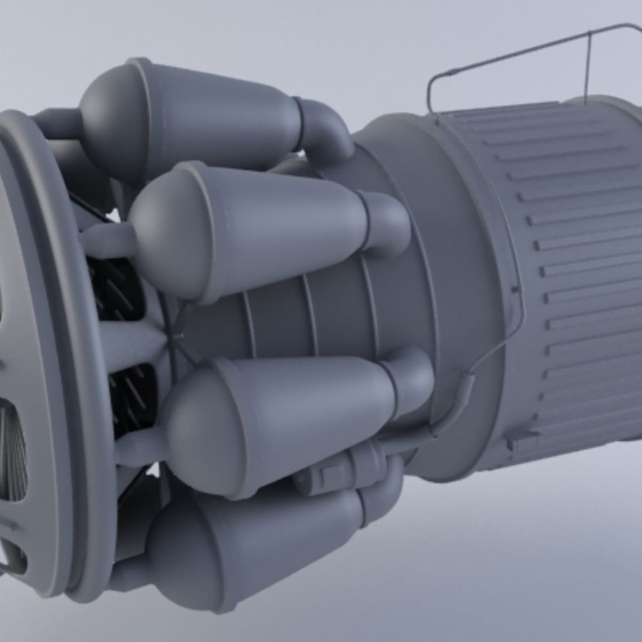 Jet Engine Turbine MK2 royalty-free 3d model - Preview no. 2