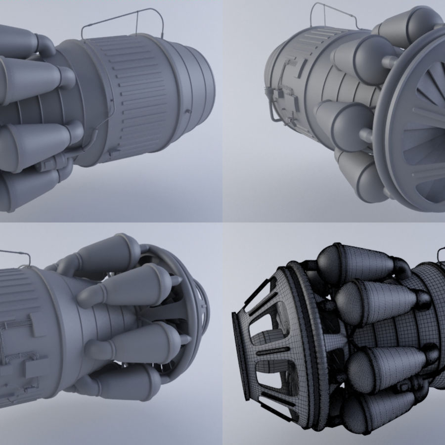 Jet Engine Turbine MK2 royalty-free 3d model - Preview no. 1