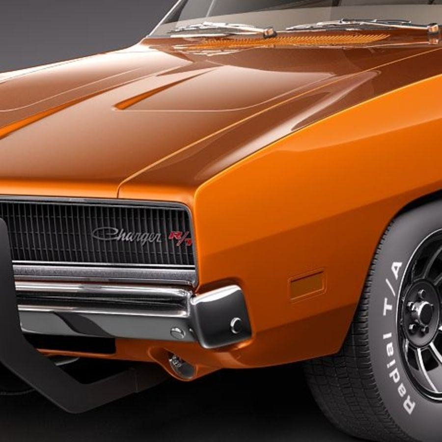 Dodge Charger 1969 RT - General Lee royalty-free 3d model - Preview no. 3