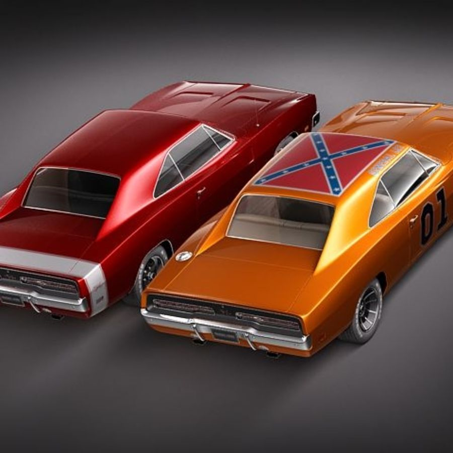 Dodge Charger 1969 RT - General Lee royalty-free 3d model - Preview no. 2