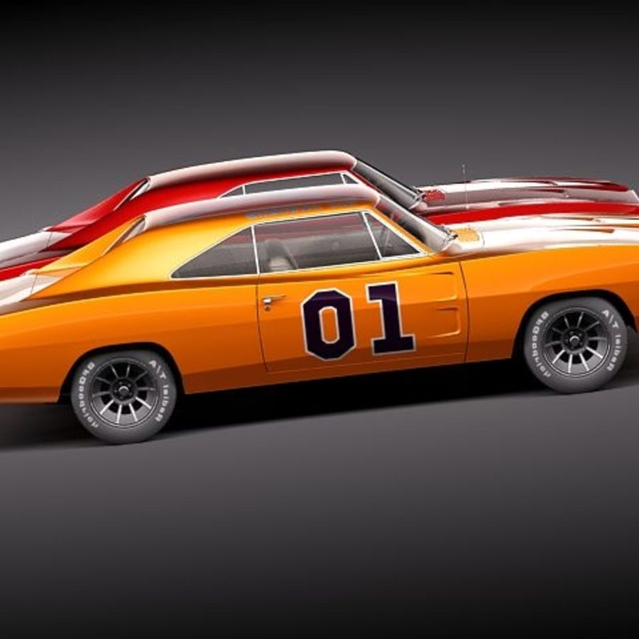 Dodge Charger 1969 RT - General Lee royalty-free 3d model - Preview no. 9