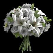 входной букет из слоновой кости розы хризантемы 3d model
