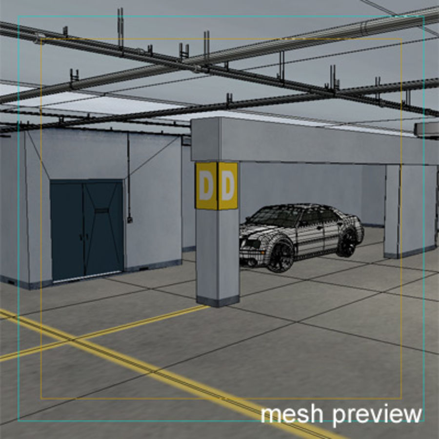 Garage Parking Underground + CAR royalty-free 3d model - Preview no. 14