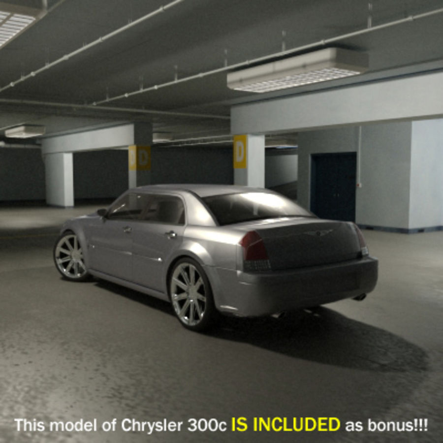 Garage Parking Underground + CAR royalty-free 3d model - Preview no. 11
