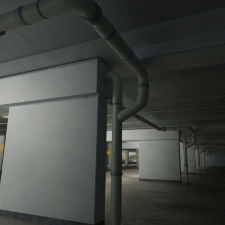 Garage Parking Underground + CAR royalty-free 3d model - Preview no. 8