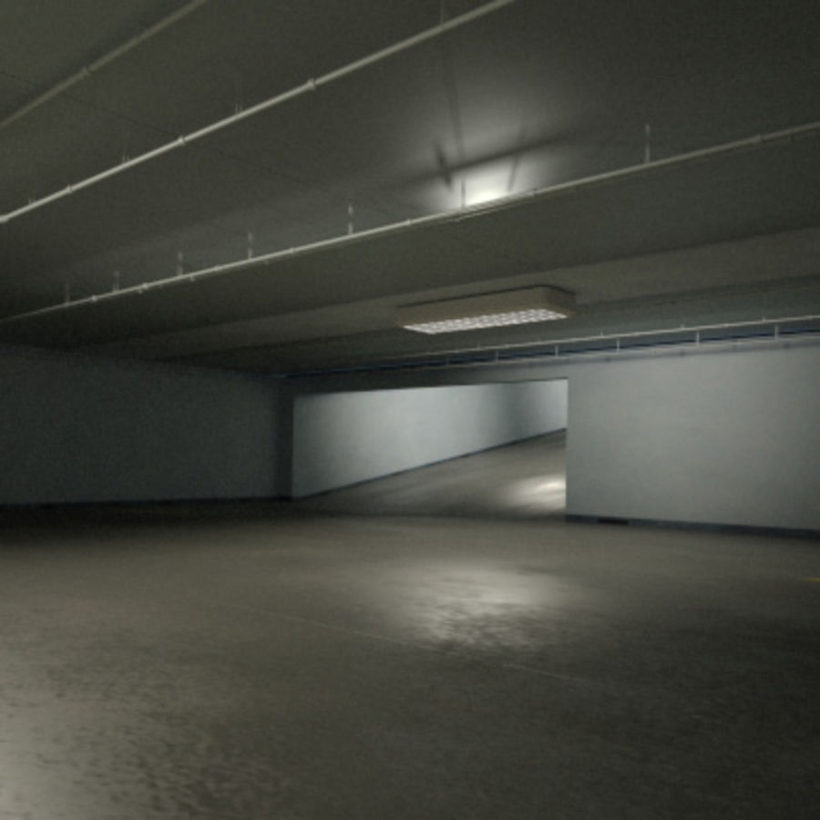 Garage Parking Underground + CAR royalty-free 3d model - Preview no. 9