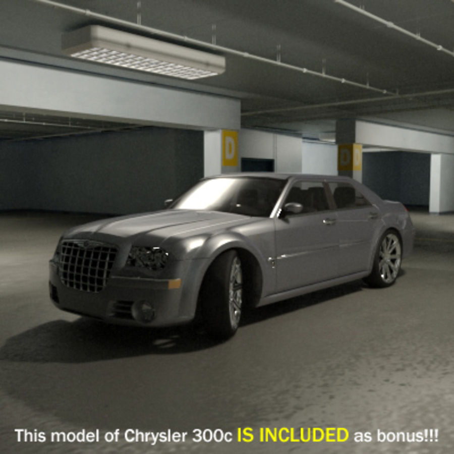 Garage Parking Underground + CAR royalty-free 3d model - Preview no. 10