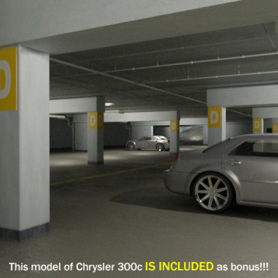 Garage Parking Underground + CAR royalty-free 3d model - Preview no. 3