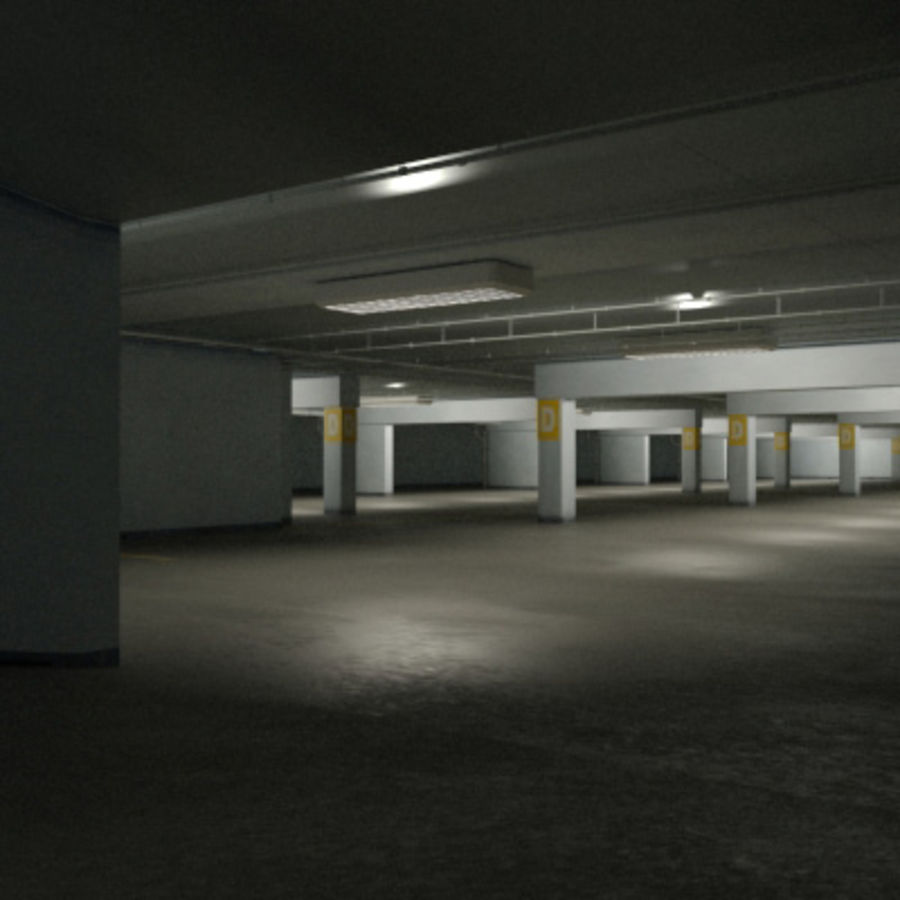 Garage Parking Underground + CAR royalty-free 3d model - Preview no. 5