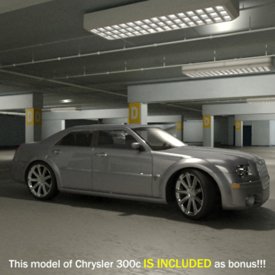 Garage Parking Underground + CAR royalty-free 3d model - Preview no. 2
