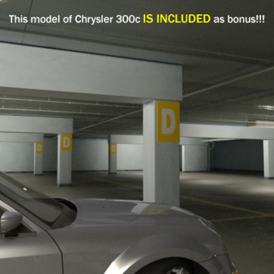 Garage Parking Underground + CAR royalty-free 3d model - Preview no. 12