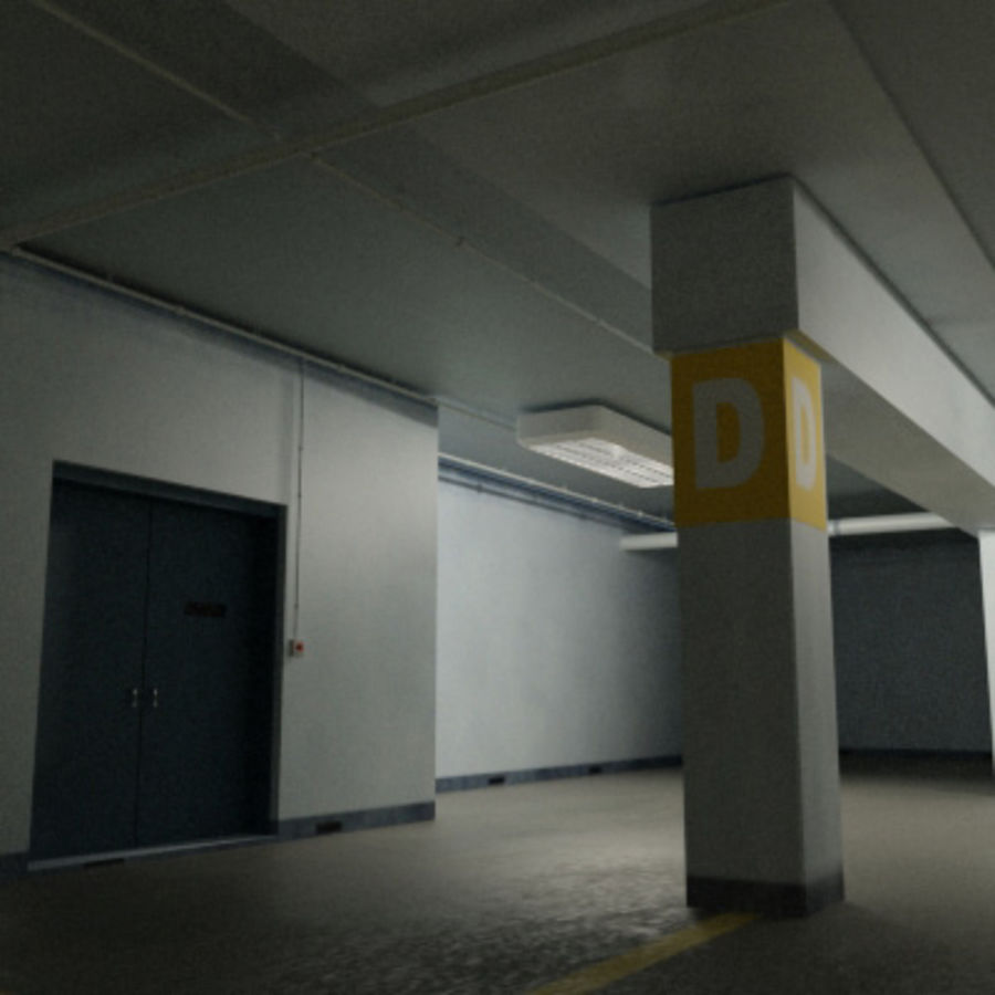 Garage Parking Underground + CAR royalty-free 3d model - Preview no. 7