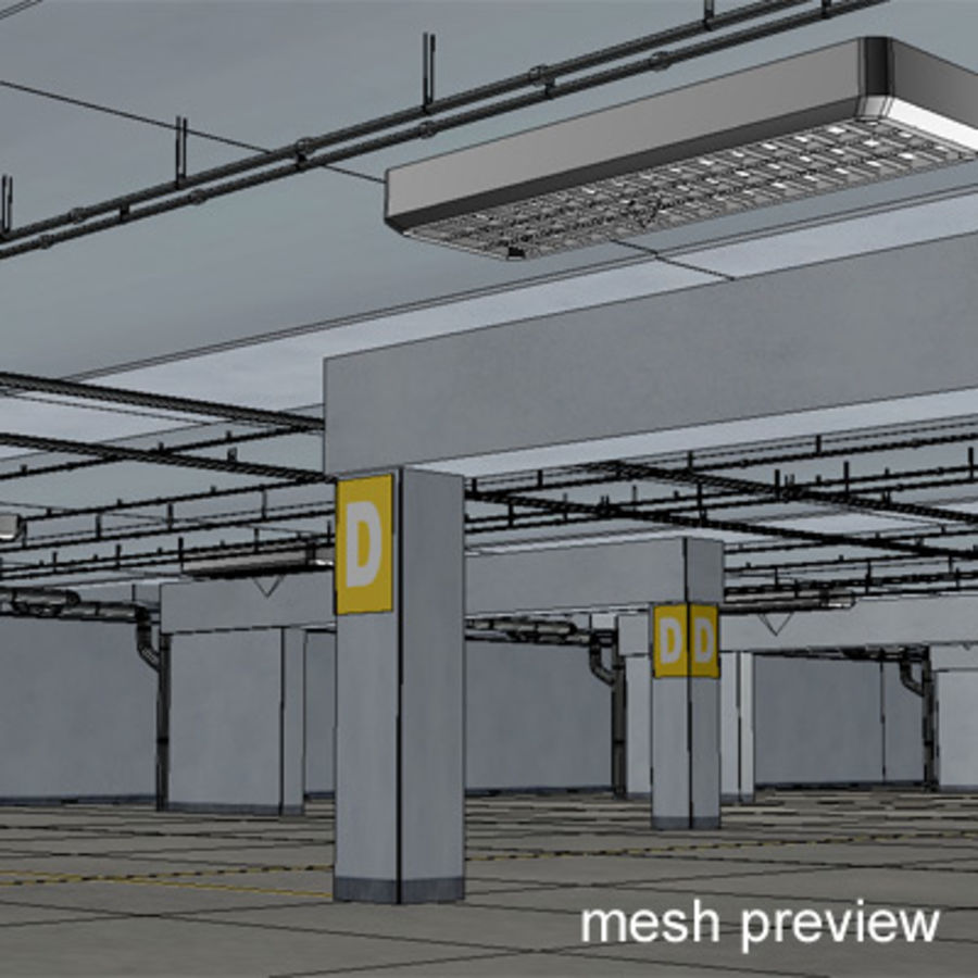Garage Parking Underground + CAR royalty-free 3d model - Preview no. 13