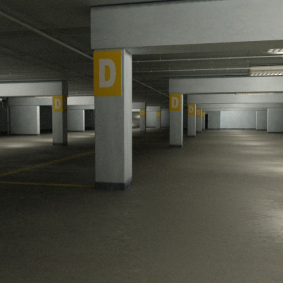 Garage Parking Underground + CAR royalty-free 3d model - Preview no. 4