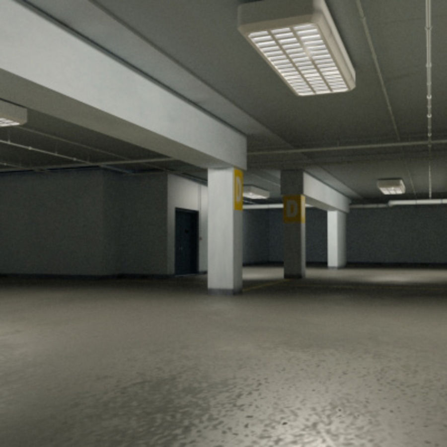 Garage Parking Underground + CAR royalty-free 3d model - Preview no. 6