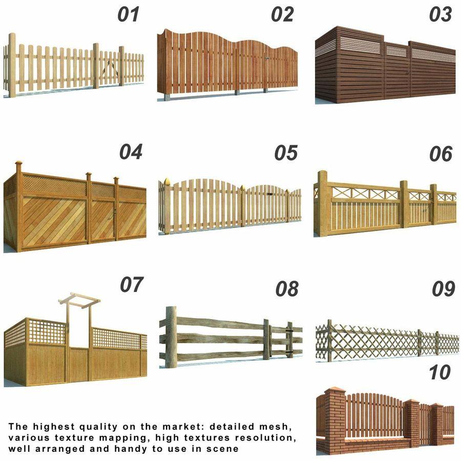 Drewniana kolekcja ogrodzeń royalty-free 3d model - Preview no. 2