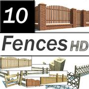 Fence Wooden Collection 3d model