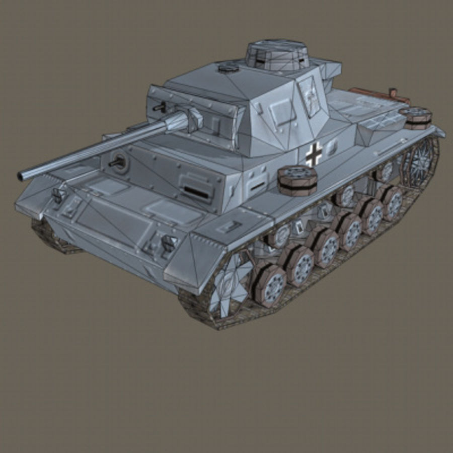 Panzer III Ausf. L (German Tank) royalty-free 3d model - Preview no. 3