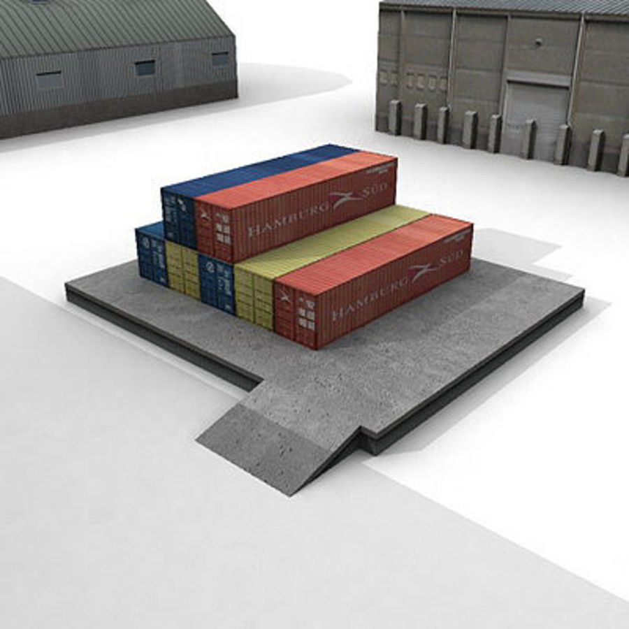 Industrial Buildings Set royalty-free 3d model - Preview no. 10