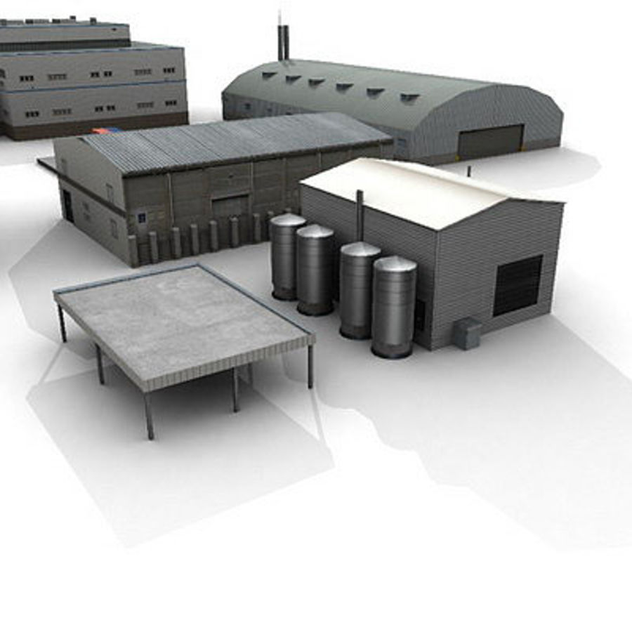 Industrial Buildings Set royalty-free 3d model - Preview no. 2