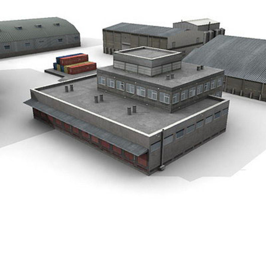 Industrial Buildings Set royalty-free 3d model - Preview no. 8