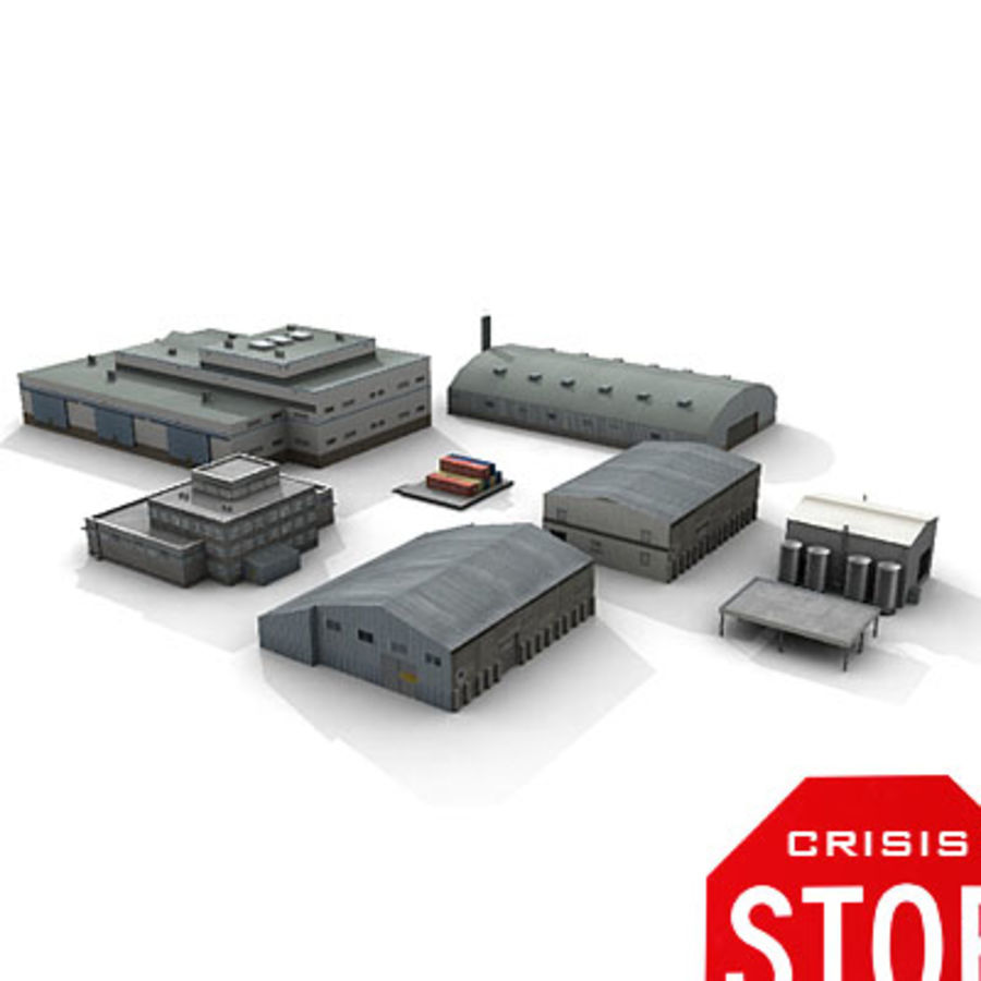 Industrial Buildings Set royalty-free 3d model - Preview no. 1