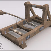 Mounted Catapult II, Low Poly, Textured 3d model