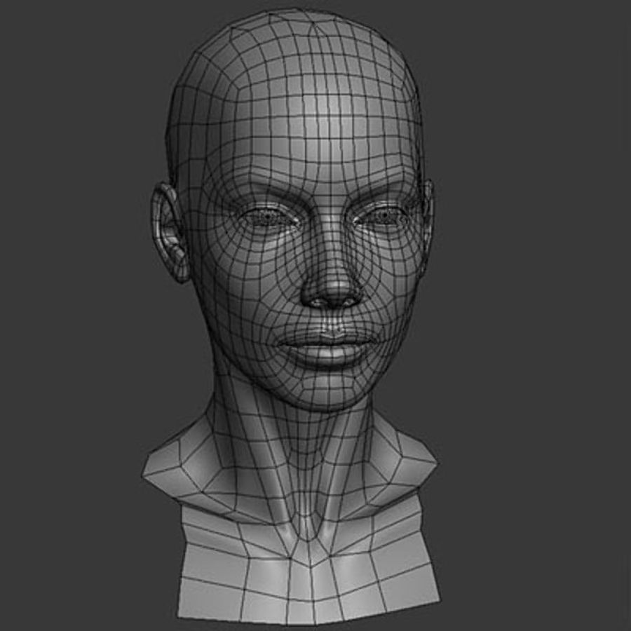 Head Female - Base Mesh royalty-free 3d model - Preview no. 2