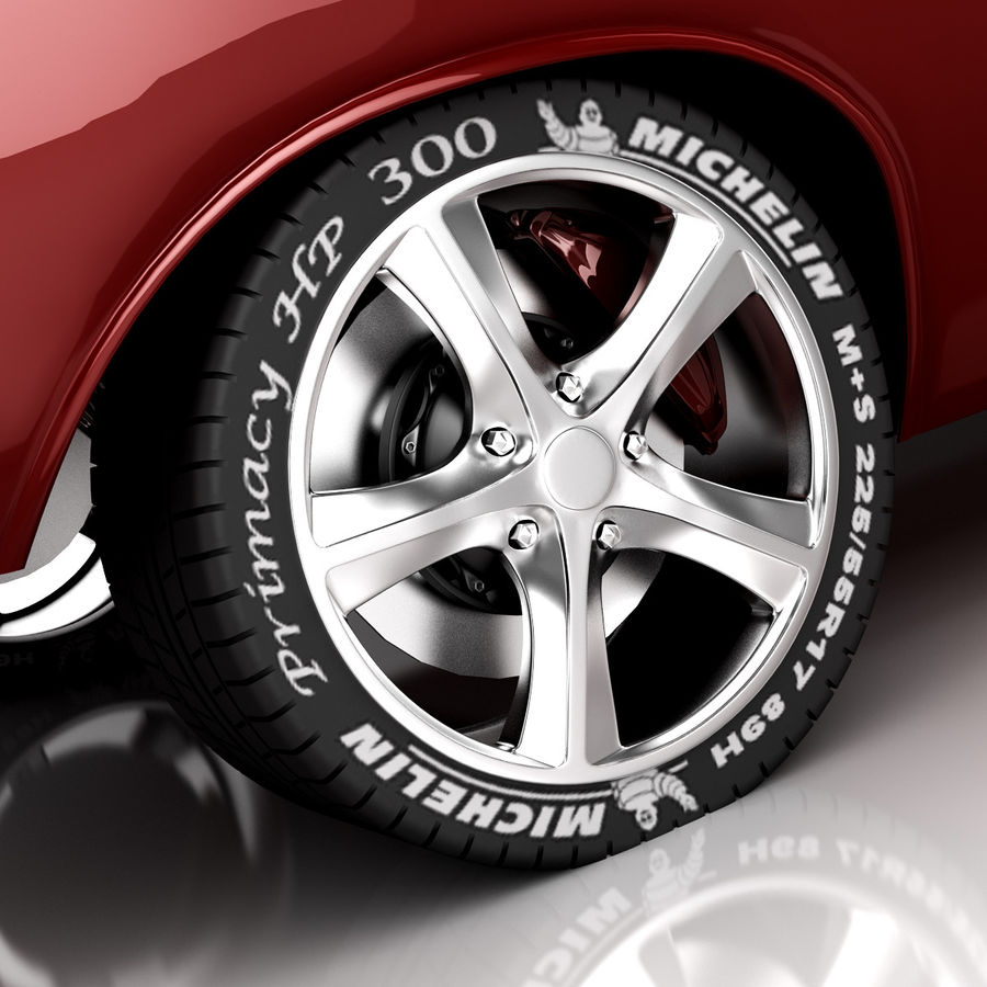 Dodge Challenger red race royalty-free 3d model - Preview no. 3