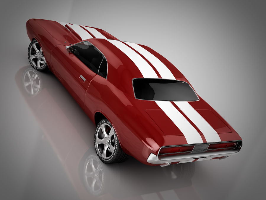 Dodge Challenger red race royalty-free 3d model - Preview no. 2
